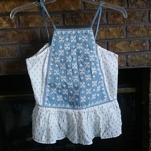 NWT jachs girlfriend new york blue baby doll top